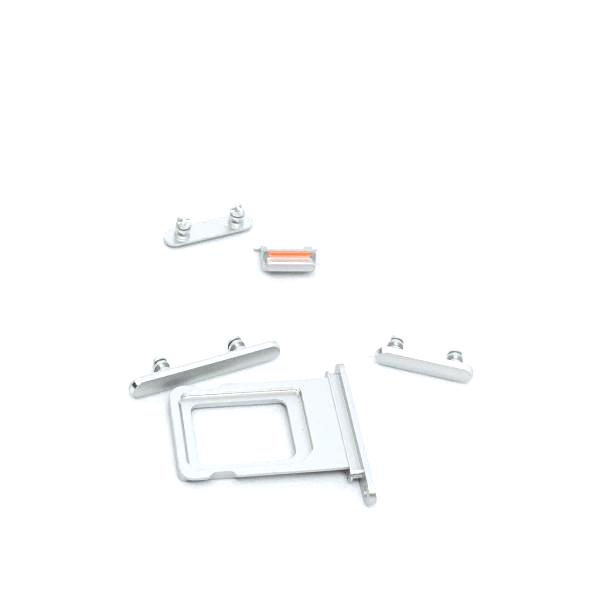 Botón Lateral Completo 5 en 1 iPhone XR Blanco