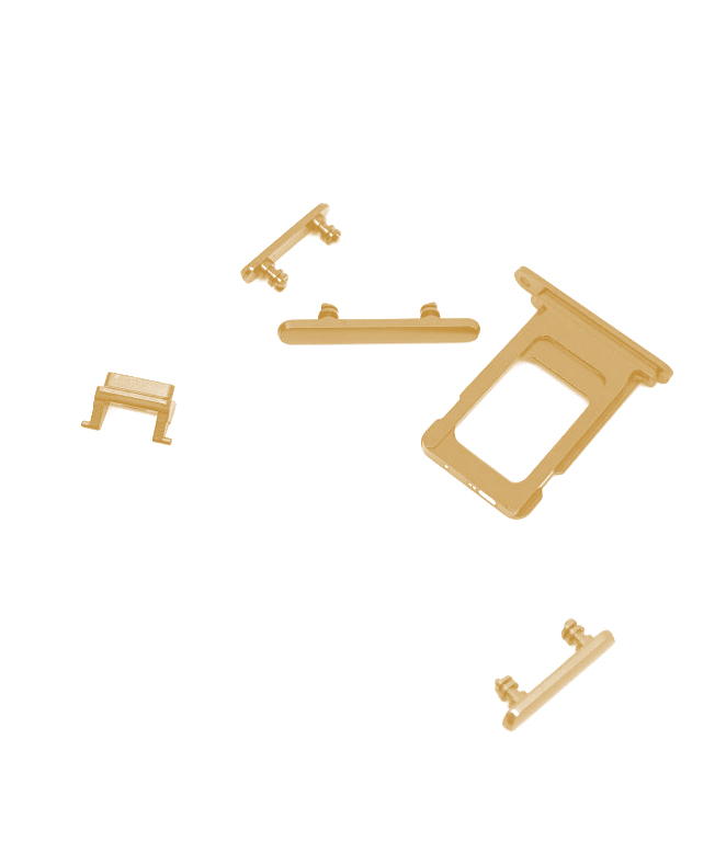 Botón Lateral Completo 5 en 1 iPhone XR Oro