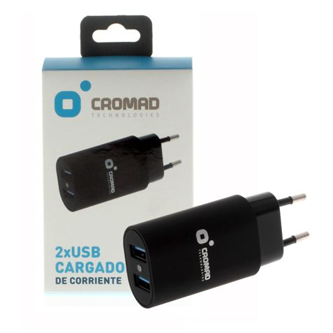 Cargador de Corriente 3.4A CROMAD 2x USB Negro
