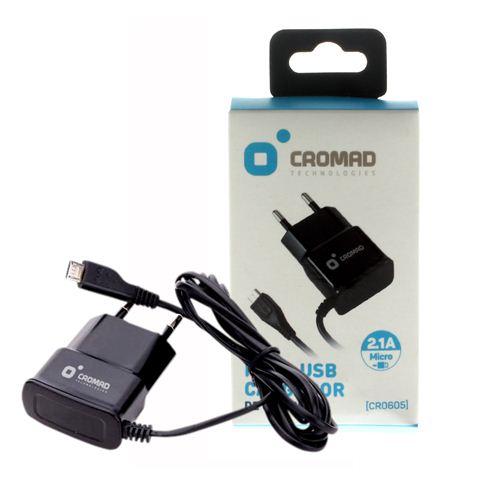 Cargador de Corriente MICRO USB 2.1A CROMAD Negro