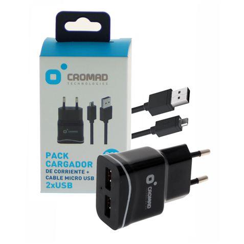 Pack Cargador de Corriente 2.1A + Cable MICRO USB CROMAD