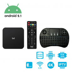 SmartTV Android 9.1 HDR 4K + Teclado Inalámbrico 2GB RAM 16GB ROM HomeBox Biwond
