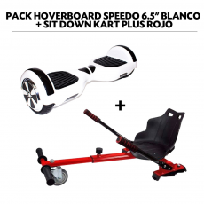 "Pack Hoverboard Speedo 6.5"" Blanco + Sit Down Kart Plus Rojo"