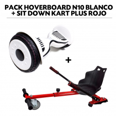 Pack Hoverboard N10 Blanco+Sit Down Kart Plus Rojo