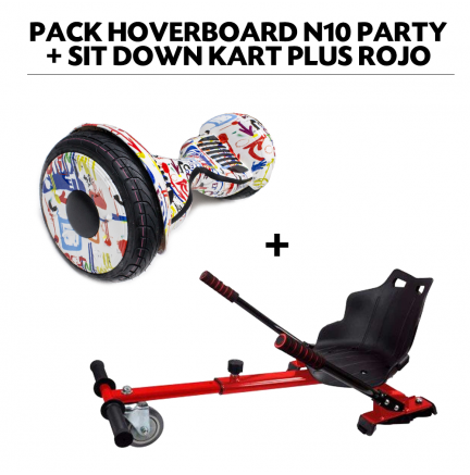 Pack Hoverboard N10 Party+Sit Down Kart Plus Rojo