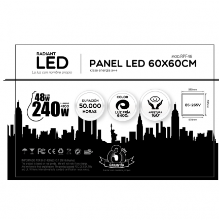 Panel LED 2 unds 60x60cm 48W 6400K Luz Fría 4100LM Radiant LED