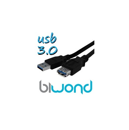 CABLE USB 3.0 1.8M BIWOND, TIPO A/M-A/H, NEGRO