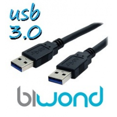 CABLE USB 3.0 1.8M BIWOND, TIPO A/M-A/M, NEGRO