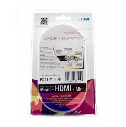 Cable HDMI 1.5M + Adaptadores Micro/Mini HDMI BIWOND