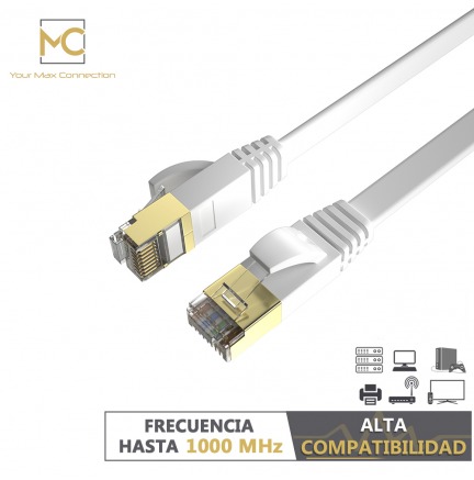 Pack 2 Cables Planos Ethernet 8P8C F/STP 32AWG 0.5m Max Connection