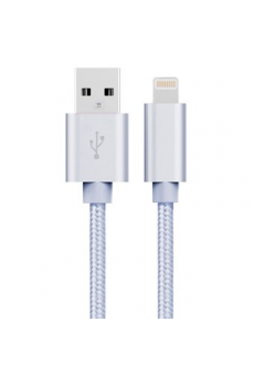 Cable USB a Lightning 8 Pines (Carga & Transferencia) Metal Plata 1m Biwond