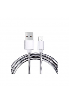 Cable USB a Micro USB 5 Pines (Carga & Transferencia) Metal Plata 1m Biwond