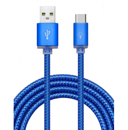 Cable USB a Tipo C (Carga & Transferencia) Metal Azul 1m Biwond