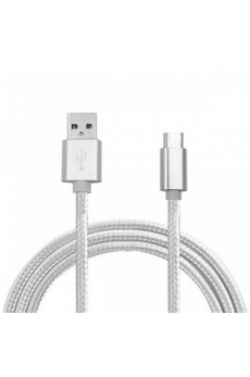 Cable USB a Tipo C (Carga & Transferencia) Metal Plata 1m Biwond