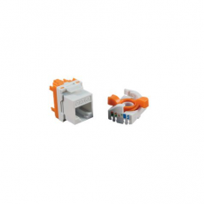 Conector Hembra RJ45 CAT6 UTP Tooless Rotary 180º Blanco CROMAD