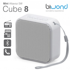 Mini Altavoz Bluetooth 5W Cube 8 Blanco Biwond