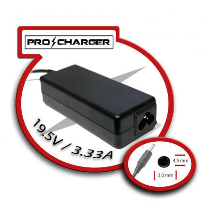 Carg. Ultrabook 19.5V/3.33A 4.5mm x 3.0mm 65w Pro Charger