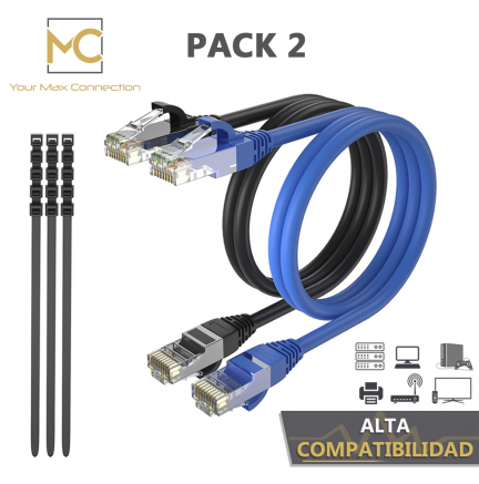 Pack 2 Cables Ethernet CAT6 RJ45 24AWG 5m + 15 Bridas Max Connection