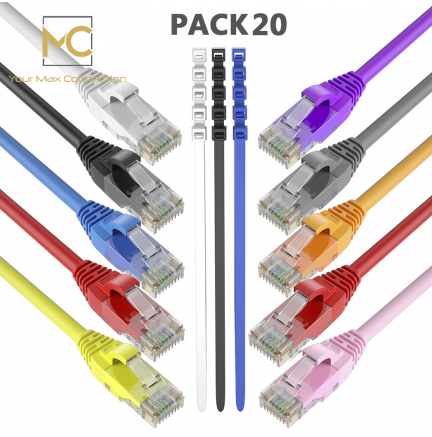 Pack 20 Cables Ethernet CAT6 RJ45 24AWG 2m + 15 Bridas Max Connection