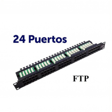 "CROMAD Panel de Parcheo 24 Puertos Krone 19"" FTP CAT 6 (24 Puertos RJ45, Enracable 1"