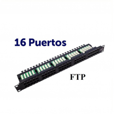 "CROMAD Panel de Parcheo 16 Puertos Krone 19"" FTP CAT 6 (16 Puertos RJ45, Enracable 1"